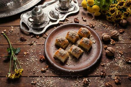 Baklava traditional oriental dessert. Tea and turkish pastry breakfast concept Stock Photo