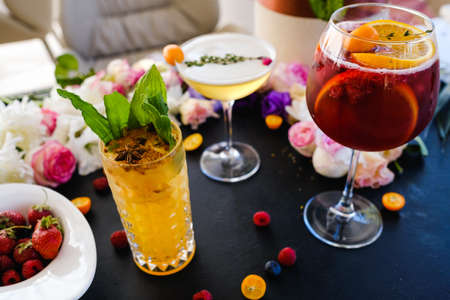party alcoholic cocktails assortment concept. bad habits. festive atmosphere Imagens