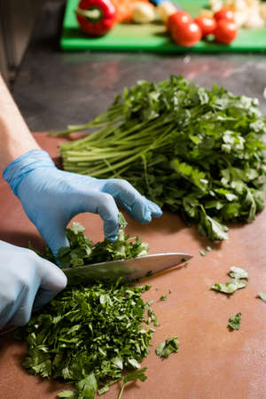Cutting herbs for a salad. Green fresh parsley. Proper nutrition, vegan eating concept Stock Photo