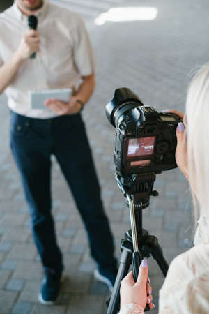 modern video filming equipment. contemporary devices in creating quality content for vlogs or tv programmes concept Stock Photo