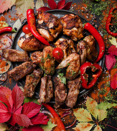 restaurant meat dishes assortment. big set for big team. nourishing and fatty unhealthy eating. Stock Photo