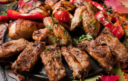 meat dishes overeating gluttons delicious concept. nourishing and fatty unhealthy eating. food photography.