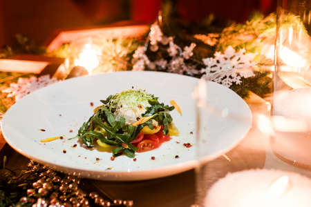 stock photo vegetarian salad christmas holiday dinner restaurant festive cuisine concept