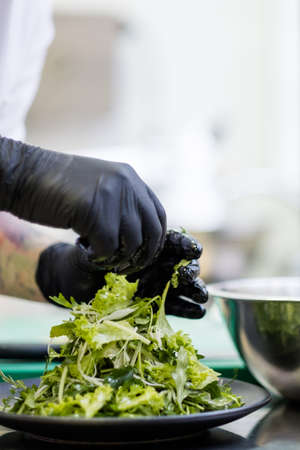 restaurant chef at work. Cooking delicious salad. Food preparation. Professional skills Stock Photo