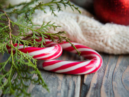 cozy atmosphere and seasonal sweet treats. stripy candy cane juniper twig and knitted blanket on wooden background.