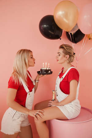 Best friends party. Event for two. Chocolate cake and balloons background. Stock Photo