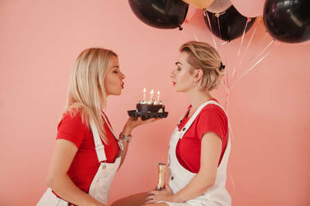 Birthday celebration. Party for two. Best friends with chocolate cake blowing out candles. Stock Photo