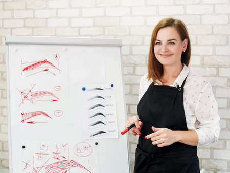 Permanent makeup courses. Successful female artist standing at white board with eyebrow sketches, telling about new techniques. Фото со стока - 130033862