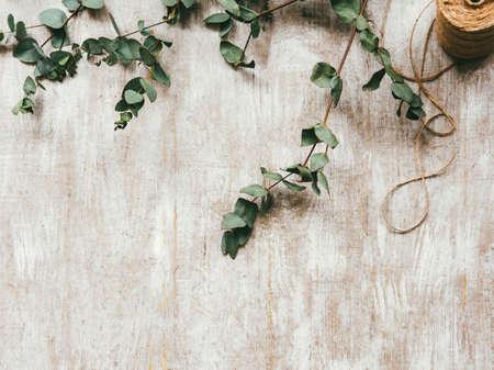 Craft shop. Floral decorative composition. Green laurel sprig twine cord on beige textured surface.