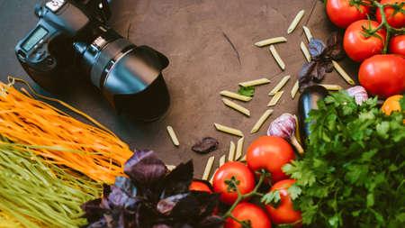 Food photography. Italian restaurant advertisement. Professional digital camera vegetables pasta.