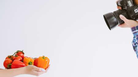 Food photography. Product advertisement promotion. Creative team shooting organic vegetables. Zdjęcie Seryjne