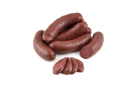 blood sausage on a white background