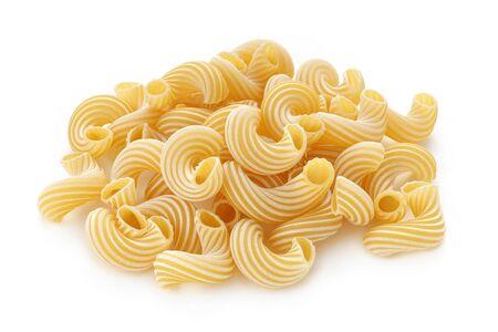 pasta cavatappi on white background