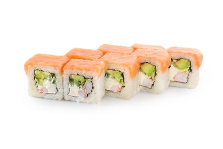 Sushi with rice, salmon, tiger shrimp, avocado, cheese, nori on a white background isolated Stock Photo