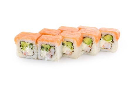Sushi with rice, salmon, tiger shrimp, avocado, cheese, nori on a white background Stock Photo
