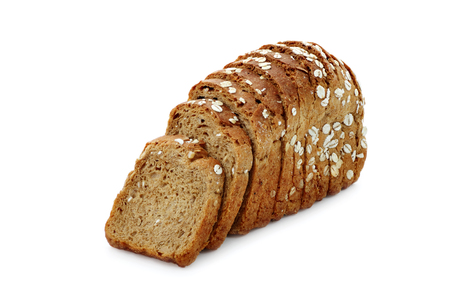black bread with oat flakes on white background isolated