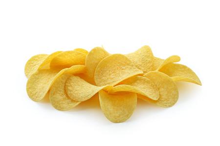 large potato chips on white background isolated