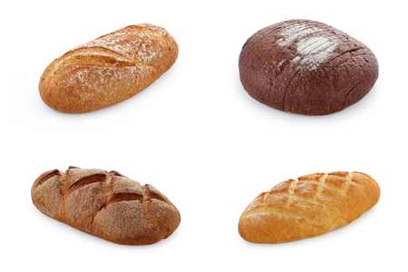 Assortment of various types of bread isolated on white background, made in studio isolated