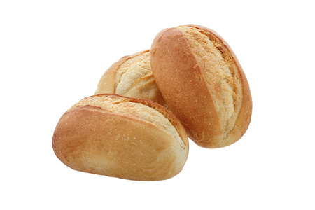 three buns close-up on a white background isolated