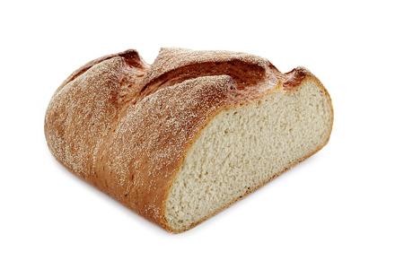 fresh half bread on white isolated background Stok Fotoğraf