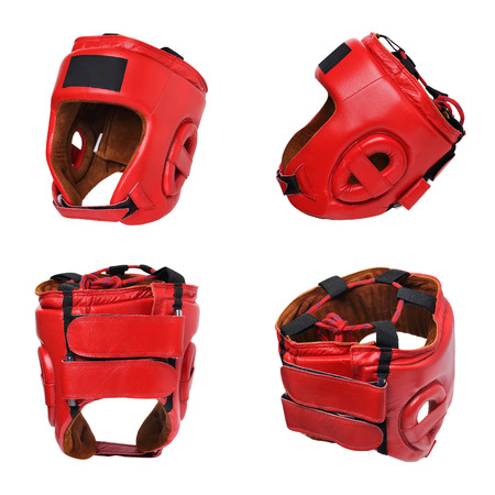 red boxing helmet on white background isolated view from all sides Stok Fotoğraf
