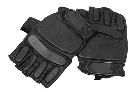 black gloves for training on a white background isolated Fitness gloves Stok Fotoğraf