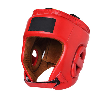 red boxing helmet on white background isolated