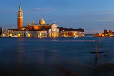 Venice Basilica Di San Giorgio Maggiore at night