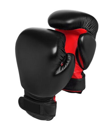 Boxing Gloves. Black boxing gloves on a white background. isolated Stok Fotoğraf