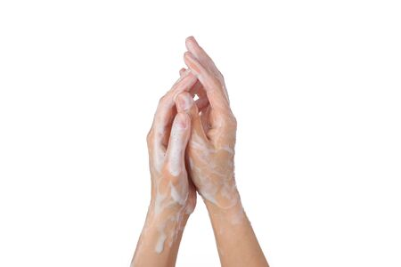 Female soapy hands. Hand wash. disinfection. Purity. isolated on white background Standard-Bild