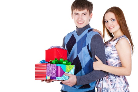 young couple with gifts photo