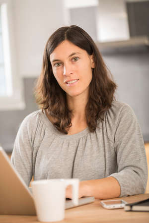 young woman working at home on laptop in kitchen Stock Photo