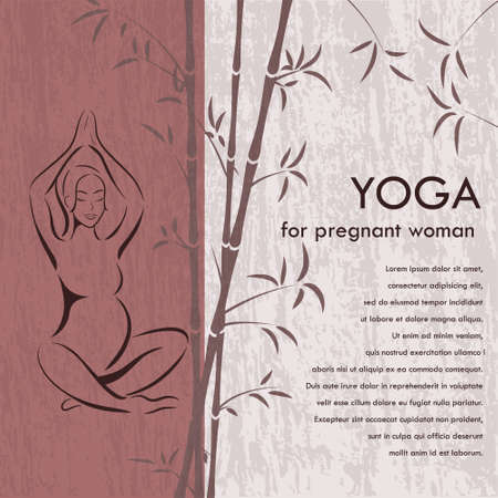 silhouette of women: Yoga for pregnant woman  Background  Banner - silhouette of a woman in a pink lotus pose on the grunge background and bamboo