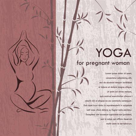 Yoga voor zwangere vrouw banner - silhouet van een vrouw in een roze lotus houding op de grunge achtergrond en bamboe