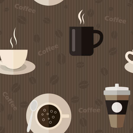 commercial kitchen: Seamless pattern with coffee icons in flat design style - Vector Illustration. Illustration