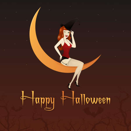 magical equipment: Charming witch on the moon at the background of the night sky. Invitation For Halloween. Congratulations.