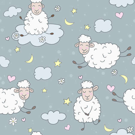 Wallpaper for children. Abstract lamb seamless pattern background vector illustration. Night Theme.   Vector