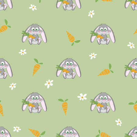 Cute rabbit seamless pattern with carrot and flower on the green meadow Vector