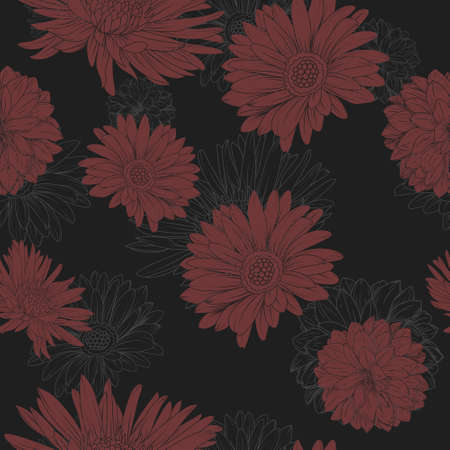 Flower seamless pattern. Red Aster and chrysanthemum at the black background Vector