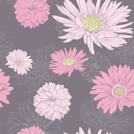 aster: Flower seamless pattern. Pink Aster and chrysanthemum at the black background Illustration