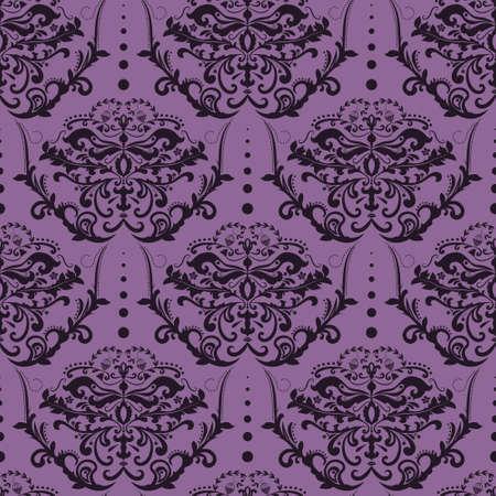 revivalism: Purple and Black Seamless Damask Wallpaper. Floral Pattern. Illustration