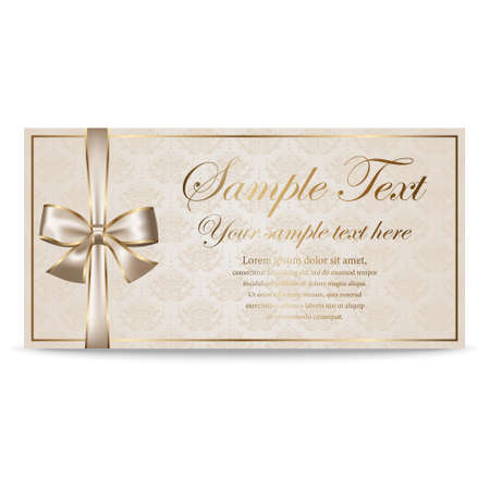sertificate: Gift Card, Sertificate, Coupon, Invitation template with silver and golden bow in retro style
