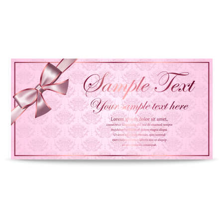 sertificate: Gift Card, Sertificate, Coupon, Invitation template with silver and pink bow in retro style