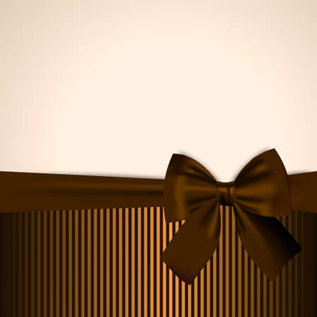 gift paper: Brown and golden Postcard Invitation Gift Card Banner Template Background with realistic bow
