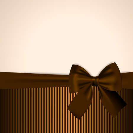Brown en gouden Uitnodiging Postcard Gift Card Banner Template Achtergrond met realistische strik