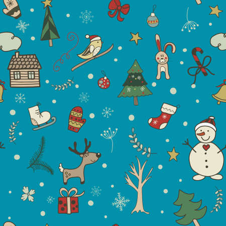 Cute cartoon christmas and New Year seamless pattern Vector