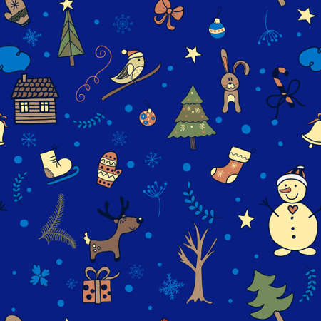 Cute cartoon winter seamless pattern. Christmas and New Year theme.   Vector