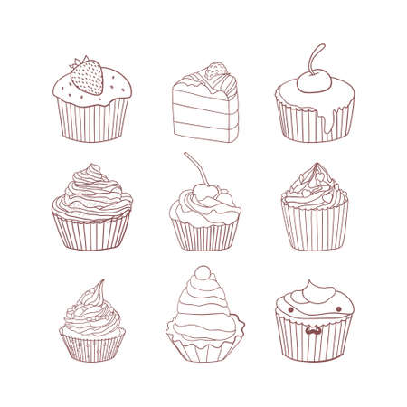 scetch: Set of 9 different delicious cupcake scetch. Vector illustration