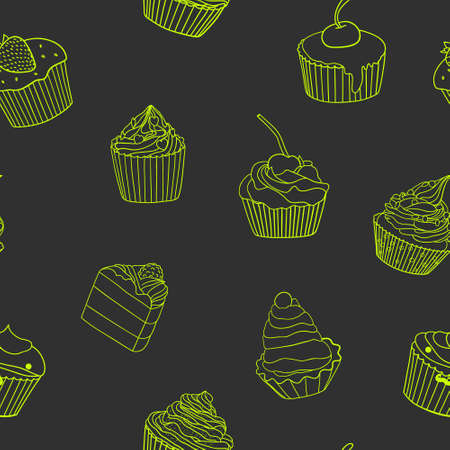 ecoration: Seamless background with cakes. Can be used for wallpaper, pattern fills, textile, web page background, surface textures. Vector illustration. Illustration