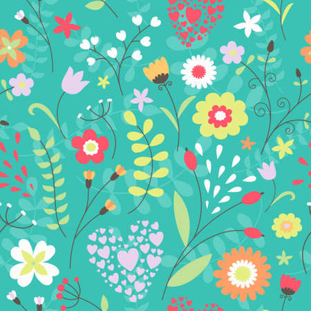 illustratio: Seamless floral pattern. Cute background in bright colors